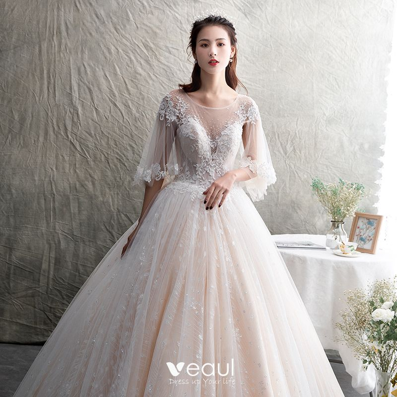 Illusion Champagne See-through Wedding Dresses 2019 A-Line / Princess Scoop Neck 3/4 Sleeve Backless Appliques Lace Beading Glitter Tulle Floor-Length / Long Ruffle