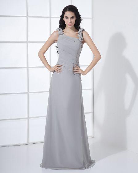 Floor Length Sabrina Neckline Flowers Pleated Chiffon Woman Bridesmaid Dress
