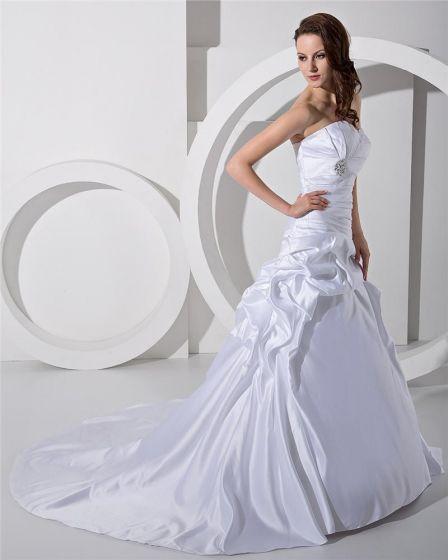 Prinzessin Satin Rüschen Kathedrale A Linie Brautkleider Hochzeitskleid