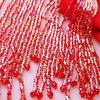 Moda Rojo Colas De Barrido Vestidos de noche 2018 Trumpet / Mermaid Charmeuse U-escote Rebordear Tassel Vestidos Formales