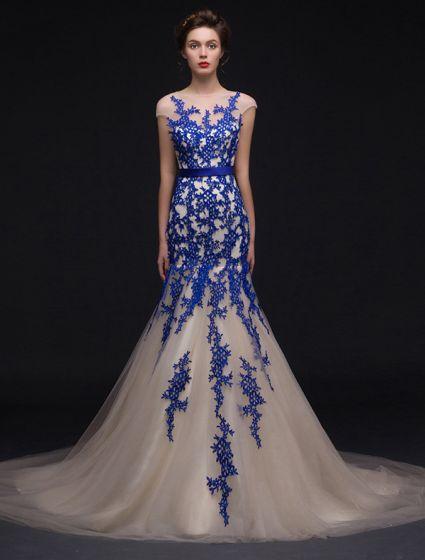 Sjöjungfru Fyrkantig Ringning Kungsblå Spets Champagne Organza Aftonklänning