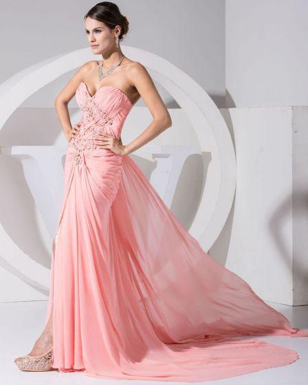 Fashion Chiffon Charmeuse Silk Pleated Sweetheart Rhinestones Beaded Court Train Women Evening Dress