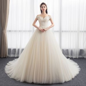 Modest / Simple Champagne Wedding Dresses 2018 Ball Gown Off-The-Shoulder Short Sleeve Backless Appliques Lace Ruffle Chapel Train
