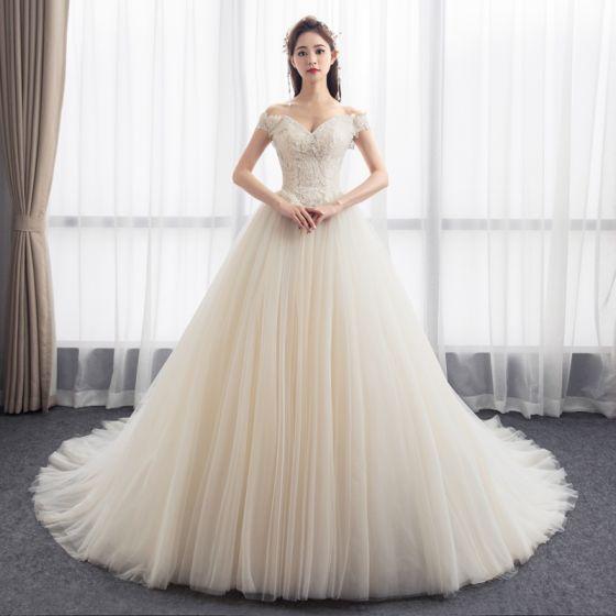 Simple Champagne Wedding Dresses