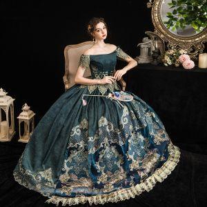 Vintage Średniowieczny Tusz Niebieski Suknia Balowa Sukienki Na Bal 2021 Kótkie Rękawy Przy Ramieniu Długie Bez Pleców Druk Koronkowe Satyna Cosplay Bal Sukienki Wizytowe