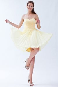 2015 Simple Sweetheart Sleeveless Yellow Short Cocktail Dress