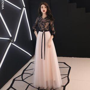 Chic / Belle Noire Robe De Soirée 2019 Princesse V-Cou Perlage En Dentelle Fleur Noeud 3/4 Manches Longue Robe De Ceremonie