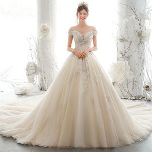 Luxury / Gorgeous Champagne Wedding Dresses 2020 A-Line / Princess Off-The-Shoulder Sequins Beading Pearl Lace Flower Appliques Sleeveless Backless Royal Train