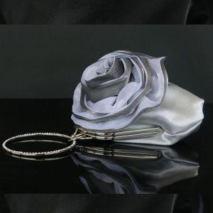 Blumenfee Silber Clutch Tasche Blumen Strass Velour Hochzeit Cocktail Abend 2019 Brautaccessoires