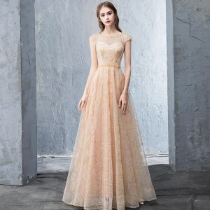 Chic / Beautiful Beige Evening Dresses  2018 A-Line / Princess Beading Backless Pearl Sequins Scoop Neck Sleeveless Floor-Length / Long Formal Dresses