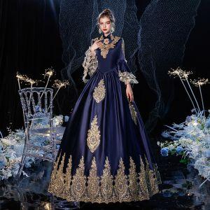 Vintage / Originale Médiévale Bleu Marine Robe De Bal 2021 Princesse Col Haut Fermeture éclair Manches Longues Longue Dentelle 3D Dos Nu Promo Robe De Ceremonie