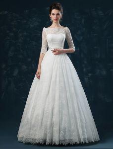 Elegant A-linje Prinsesse Skuldre 1/2 Ermer Brodert Blonder Brudekjoler