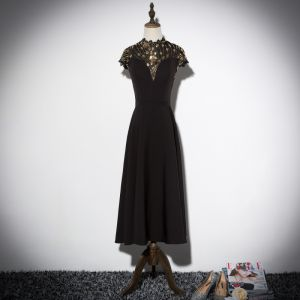 Vintage / Retro Black Evening Dresses  2019 A-Line / Princess High Neck Cap Sleeves Glitter Sequins Tea-length Ruffle Formal Dresses