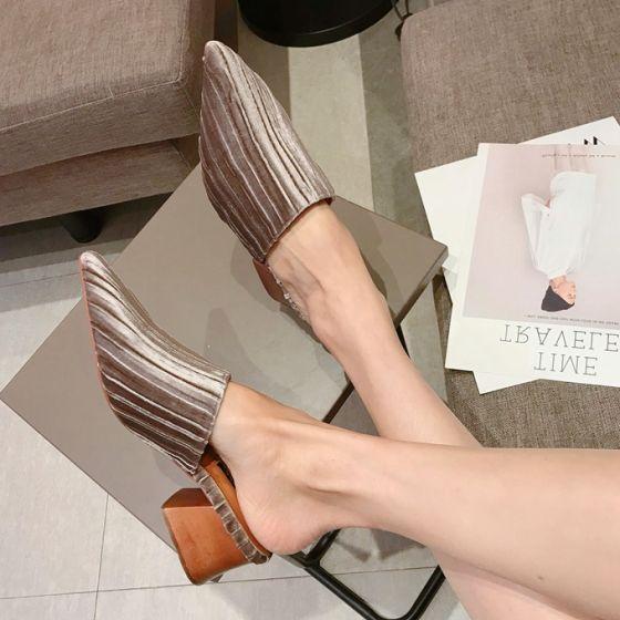 Moderne / Mode Rougissant Rose Désinvolte Chaussures Femmes 2018 Daim Talons Épais À Bout Pointu Petit Talon Pantoufle & Tongs