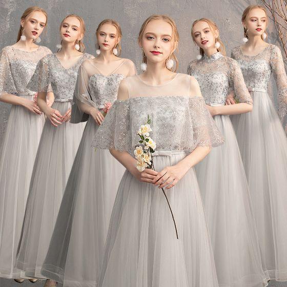 e995a7fbba Piękne Szary Sukienki Dla Druhen 2019 Princessa Aplikacje Z Koronki Kokarda  Szarfa Długie Bez Pleców Sukienki ...