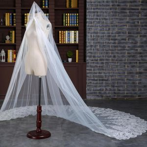 Mooie / Prachtige Witte 2017 Huwelijk Tule Appliques Bruidssluier