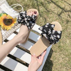 Abordable Été Noire Plage Sandales Femme 2020 Fleur 4 cm