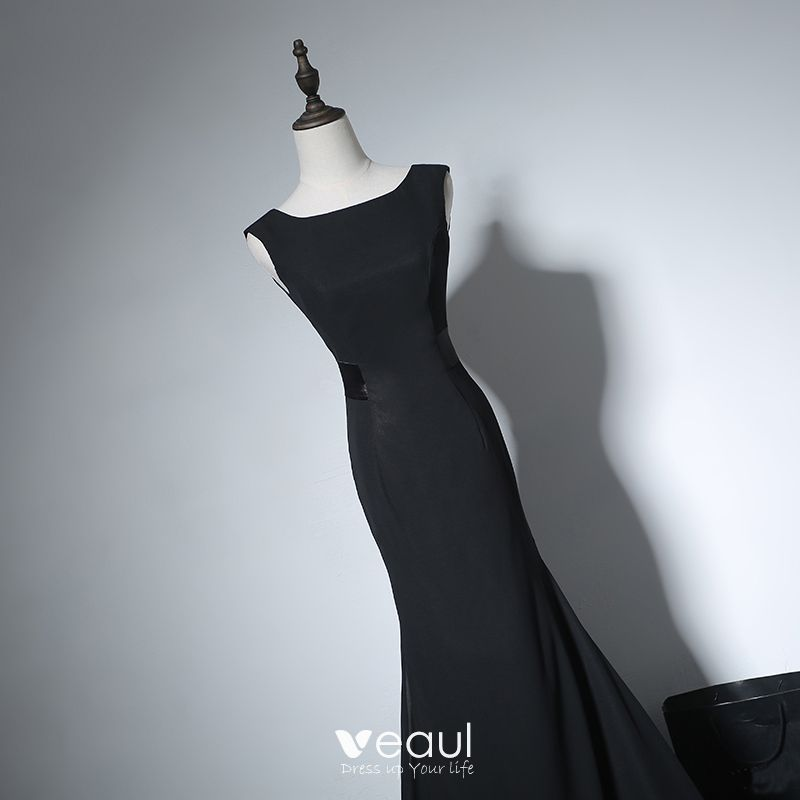 Chic / Beautiful Evening Party Formal Dresses 2017 Evening Dresses  Black Trumpet / Mermaid Sweep Train Square Neckline Sleeveless Backless