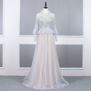 Vintage / Retro Grey See-through Evening Dresses  2020 A-Line / Princess High Neck Long Sleeve Beading Sweep Train Ruffle Formal Dresses