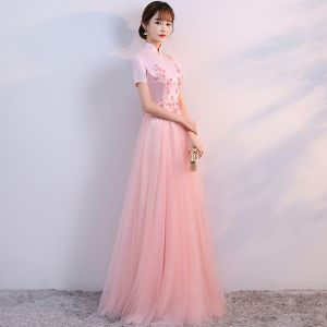Chic / Beautiful Pearl Pink Chinese style Formal Dresses 2017 A-Line / Princess Lace Flower Pearl High Neck Short Sleeve Floor-Length / Long Evening Dresses