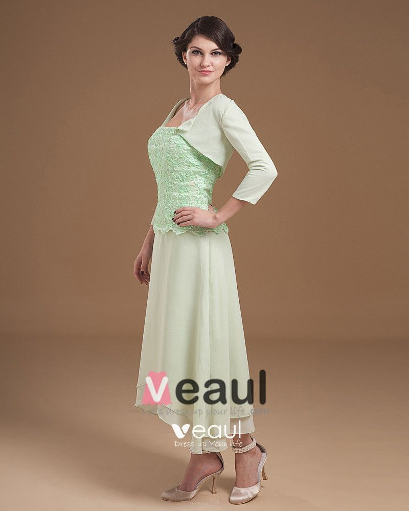 Absorbing Strapless Tea Length Applique Chiffon Mother of the Bride Dress