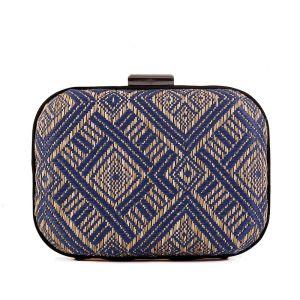Traditionell Marineblau Flechten Quadratische Clutch Tasche 2020