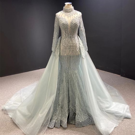 Luxury / Gorgeous Grey Red Carpet Evening Dresses  2020 A-Line / Princess See-through High Neck Long Sleeve Appliques Lace Handmade  Beading Pearl Detachable Chapel Train Ruffle Formal Dresses