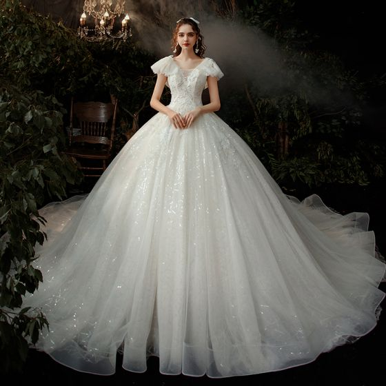 Chic / Beautiful Ivory Bridal Wedding Dresses 2020 Empire V-Neck Short Sleeve Backless Beading Sequins Cathedral Train Ruffle