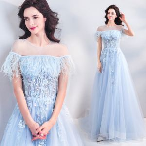 Modern / Fashion Sky Blue See-through Evening Dresses  2019 A-Line / Princess Scoop Neck Short Sleeve Appliques Flower Pearl Beading Feather Sweep Train Ruffle Backless Formal Dresses