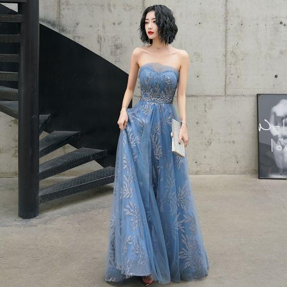 Charmant Meeresblau Abendkleider 2020 A Linie Bandeau Glanz Perlenstickerei Pailletten Ärmellos Rückenfreies Lange Festliche Kleider