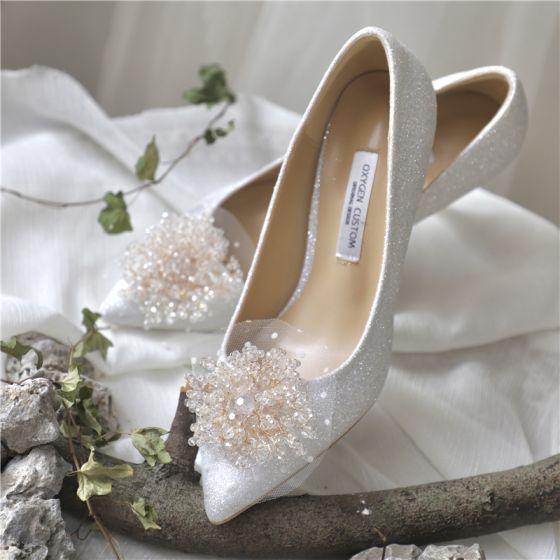 Edles Ivory / Creme Leder Strass Pailletten Brautschuhe 2020 7 cm Stilettos Spitzschuh Hochzeit Pumps