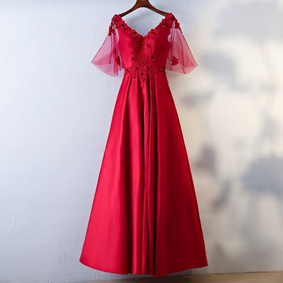 Chic / Beautiful Red Evening Dresses  2017 A-Line / Princess Beading Lace Flower Sequins Artificial Flowers V-Neck Backless Short Sleeve Ankle Length Evening Party