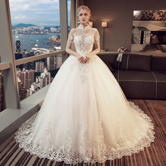 Vintage Ivory Pierced Wedding Dresses 2018 Ball Gown High