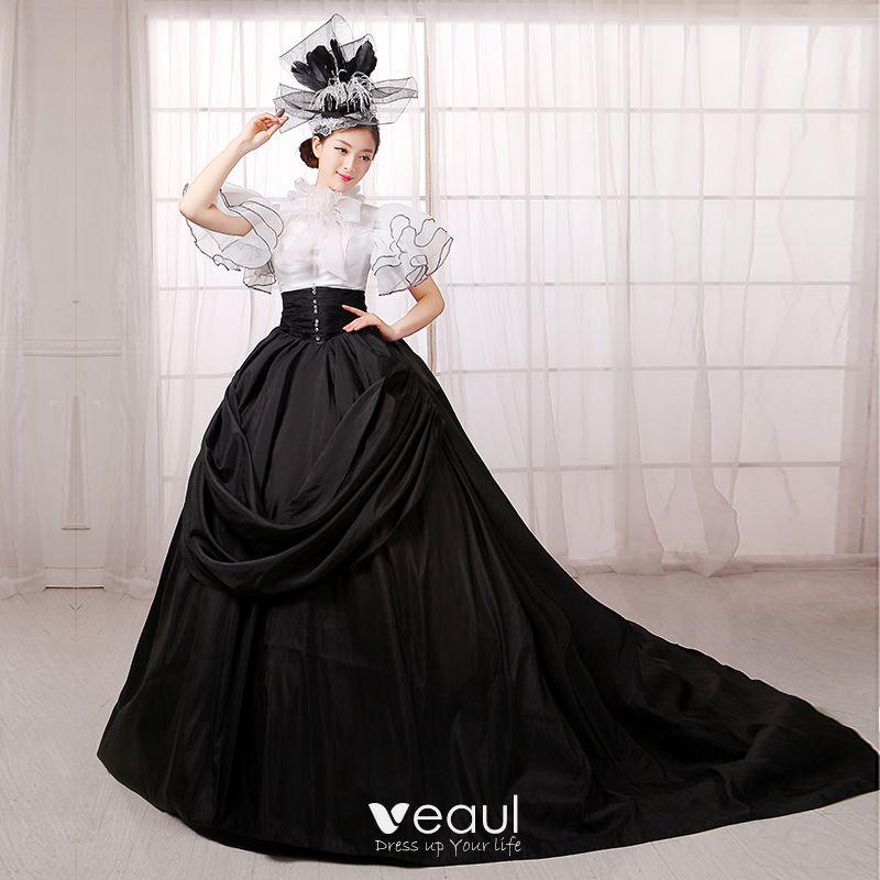 Vestidos de gala negro con blanco