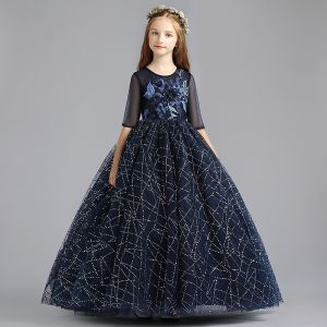Chic / Belle Bleu Marine Robe Ceremonie Fille 2019 Princesse Encolure Dégagée 1/2 Manches Appliques En Dentelle Perle Glitter Paillettes Longue Volants Robe Pour Mariage