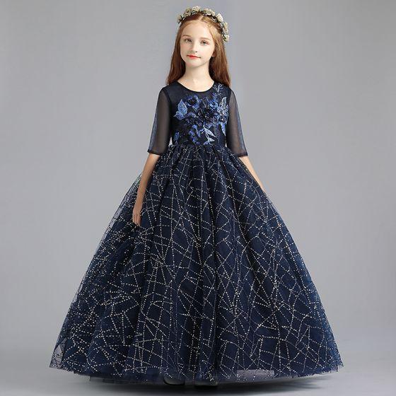 0347bfb765d8a Chic   Belle Bleu Marine Robe Ceremonie Fille 2019 Princesse Encolure  Dégagée 1 2 Manches Appliques En ...