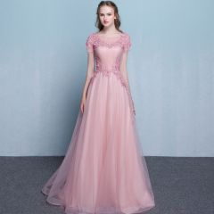 Elegant Blushing Pink Evening Dresses  2019 A-Line / Princess Scoop Neck Short Sleeve Appliques Lace Beading Sweep Train Ruffle Backless Formal Dresses