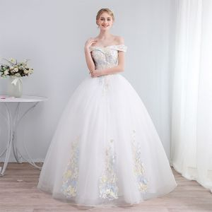 657619536c51f Colored Ivory Wedding Dresses 2019 A-Line / Princess Off-The-Shoulder Short