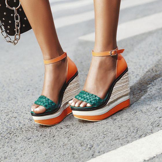 Chic / Beautiful Orange Street Wear Womens Sandals 2020 Ankle Strap Waterproof Open / Peep Toe 13 cm Wedges Sandals