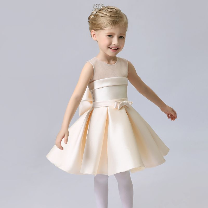 Affordable Hall Wedding Party Dresses 2017 Flower Girl Dresses Champagne Knee-Length A-Line / Princess Cascading Ruffles Backless Scoop Neck Sleeveless Bow Sash