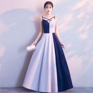 Moderne / Mode Blanche Robe De Soirée 2018 Princesse Charmeuse V-Cou Dos Nu Soirée Robe De Ceremonie