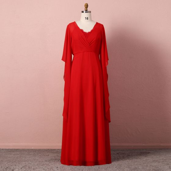 Modest / Simple Red Evening Dresses  2020 A-Line / Princess Long Sleeve U-Neck Tulle Lace Solid Color Handmade  Floor-Length / Long Evening Party Formal Dresses