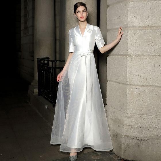 Mode Blanche Satin Robe De Soirée 2021 Princesse V-Cou 1/2 Manches Ceinture Appliques Paillettes Longue Volants Robe De Ceremonie