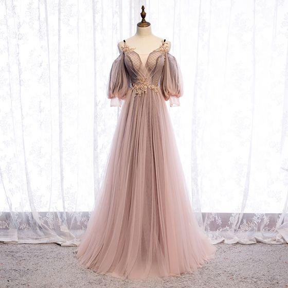 Charming Blushing Pink Evening Dresses  2020 A-Line / Princess Spaghetti Straps Beading Sequins Lace Flower 3/4 Sleeve Backless Floor-Length / Long Formal Dresses
