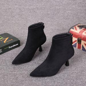Enkel Vinter Svart Casual Suede Kvinners støvler 2021 Lær Ankel 6 cm Stiletthæler Spisse Boots