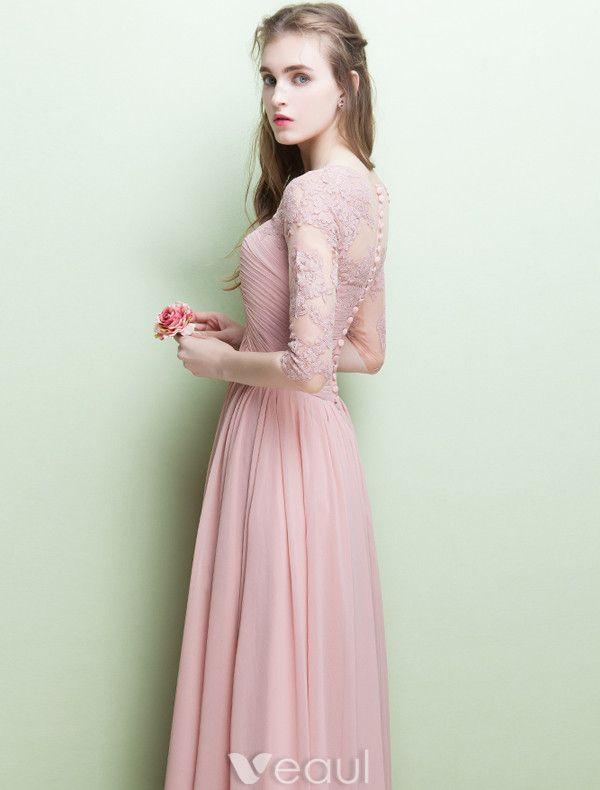 Robe De Soirée Glamour V-cou Volants Robe En Mousseline De Soie Rose Avec Manches
