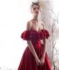 Elegantes Borgoña Vestidos de noche 2019 A-Line / Princess Fuera Del Hombro Ruffle Manga Corta Sin Espalda Largos Vestidos Formales