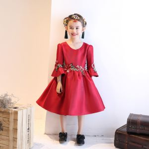 Chinese style Church Wedding Party Dresses 2017 Flower Girl Dresses Burgundy Ball Gown Knee-Length Scoop Neck 3/4 Sleeve Flower Appliques Beading