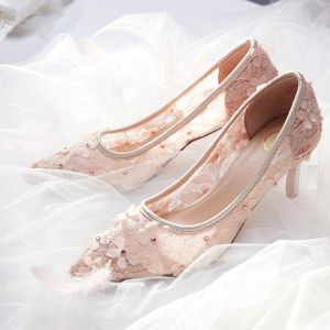 Charming Nude Wedding Shoes 2019 Lace Appliques Rhinestone 7 cm Stiletto Heels Pointed Toe Wedding Pumps