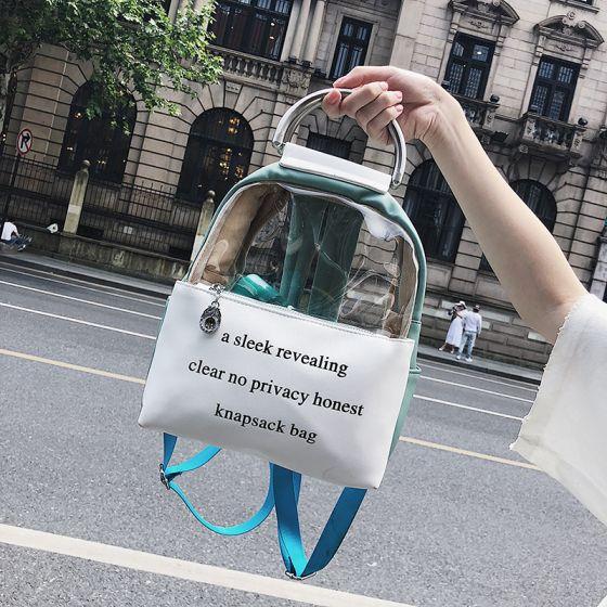 Gennemsigtig Salvie Grøn Rygsække 2021 PVC Casual Dametasker